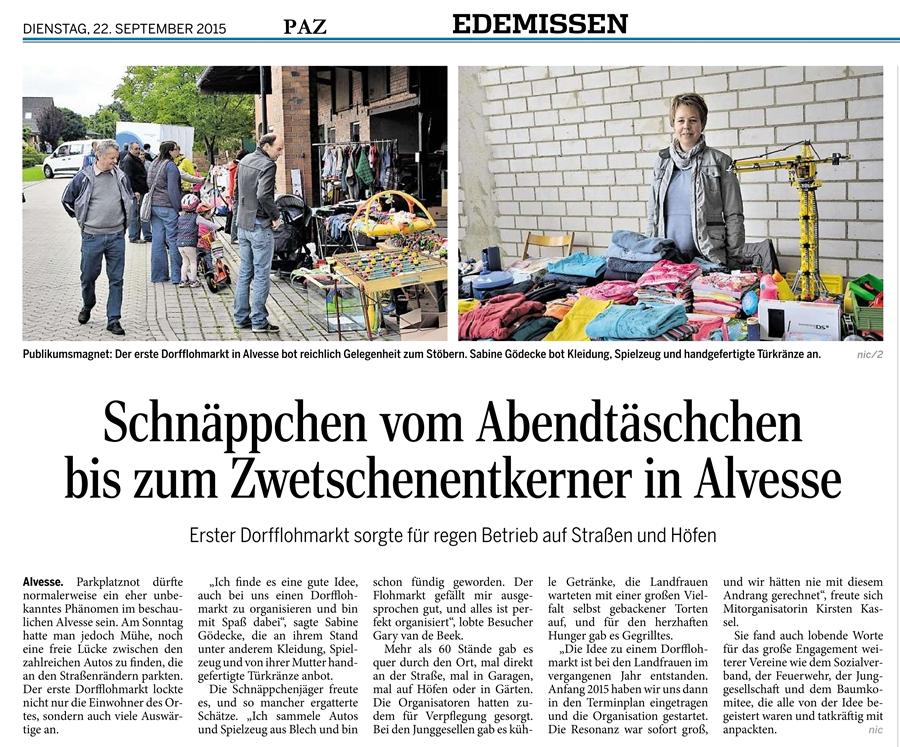 Gute Resonanz beim 1. Dorfflohmarkt in Alvesse