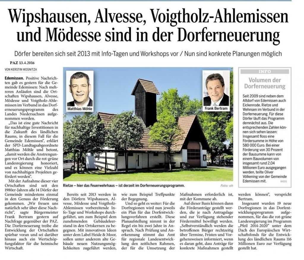Peiner Allemeine Zeitung Dorferneuerung_Alvesse